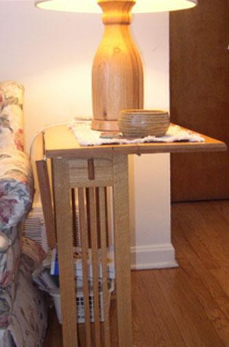 Mission style oak drop leaf table, lamp